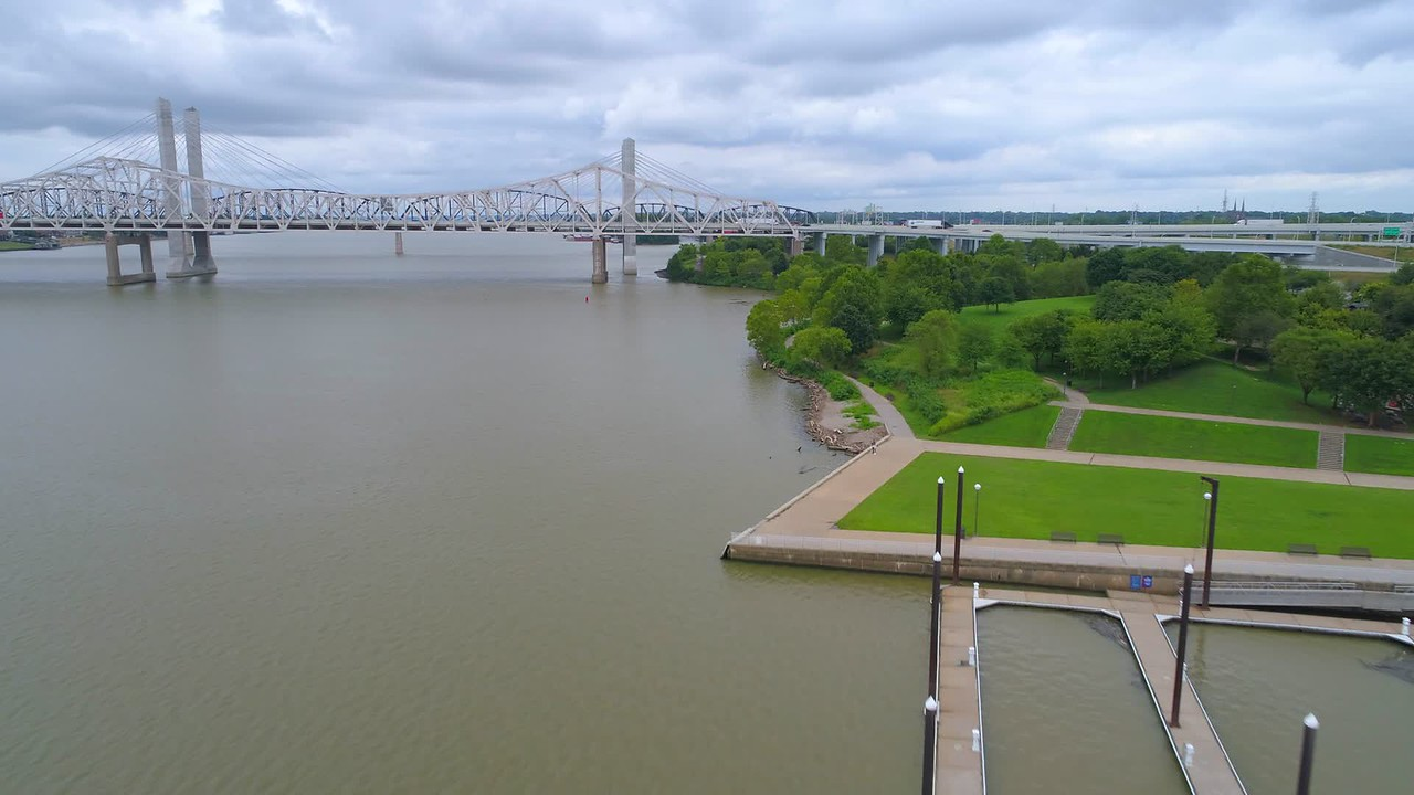 Drone aerial Louisville Riverwalk pedestrian path
