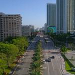 Aerial shot South Ocean Drive Hallandale Beach FL Bridge