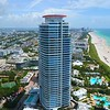 Aerial drone orbit Continuum Miami Beach