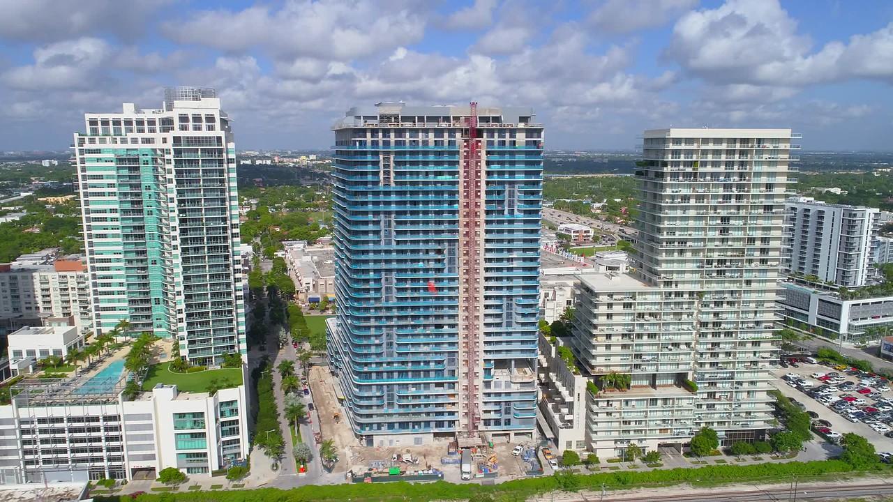 Aerial tour Midtown Miami Fl USA