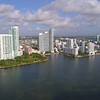 Aerial video Edgewater Miami buildings on the bay