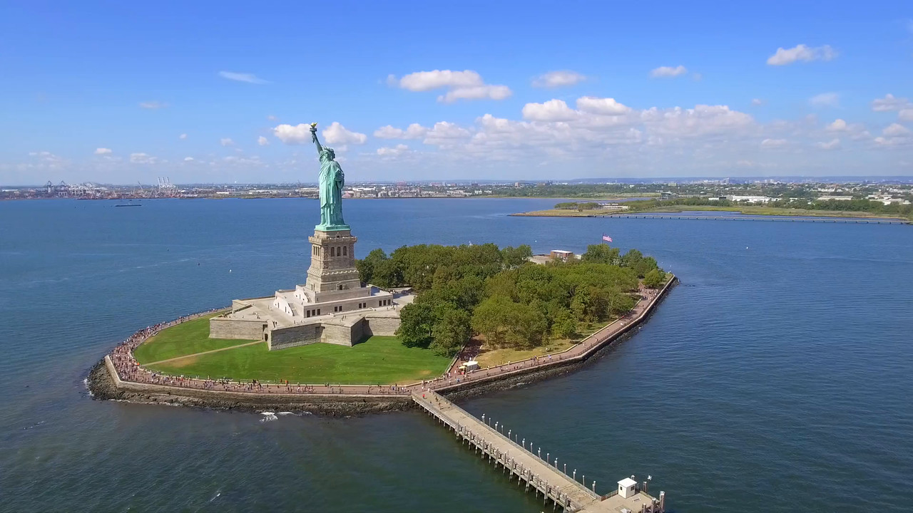 Statue of Liberty aerial tours 4k