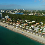 Aerial drone video of beachfront homes in fort lauderdale 4k