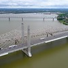 Aerial drone footage bridges over the Ohio River 4k