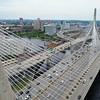 Aerial drone footage Boston Massachusetts Zakim Bridge 4k 60p