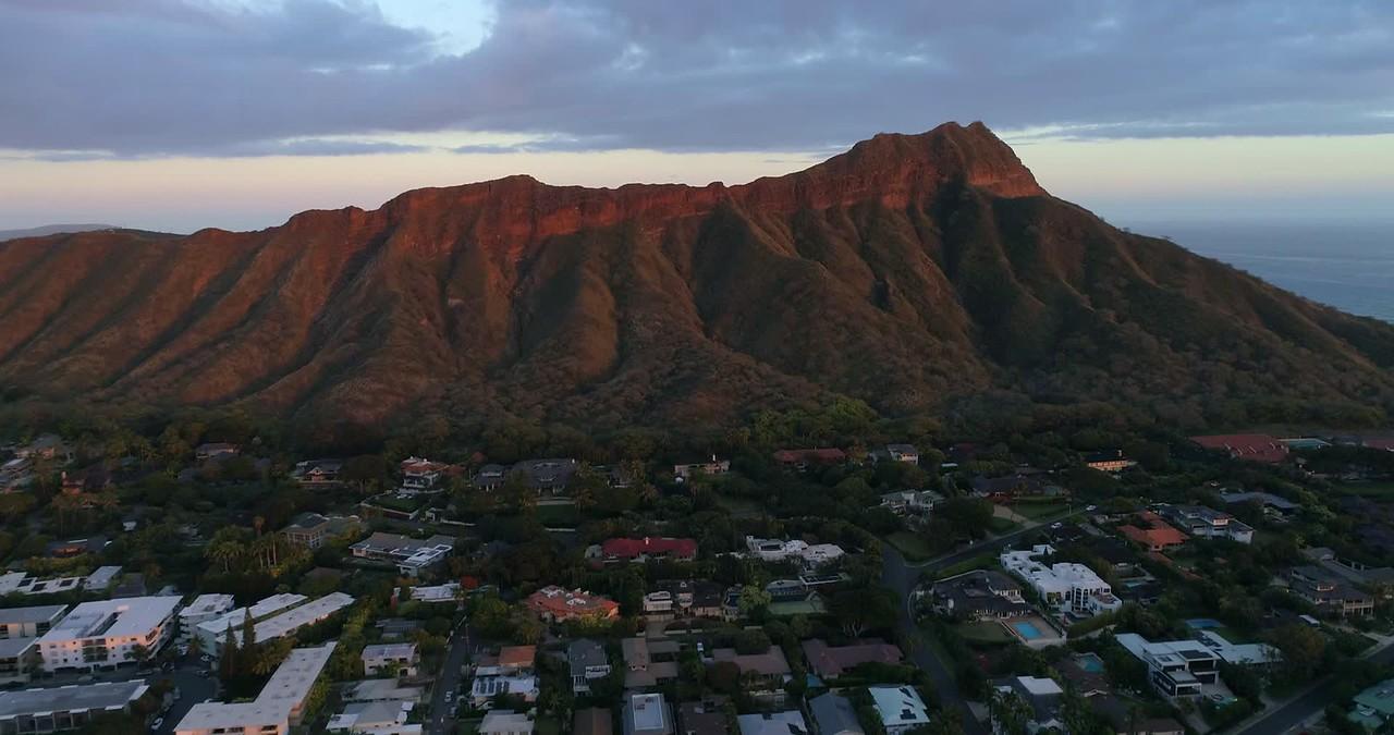 4k Aerial video Diamond Head Honolulu Hawaii