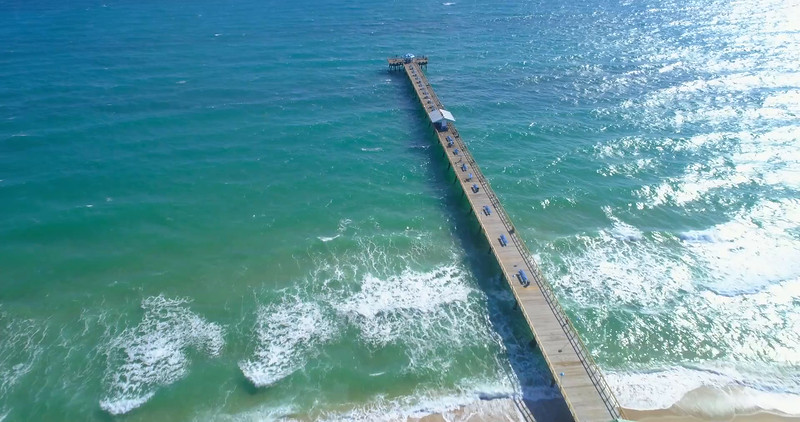 Aerial video of the Anglin's Fishing Pier Fort Lauderdale FL