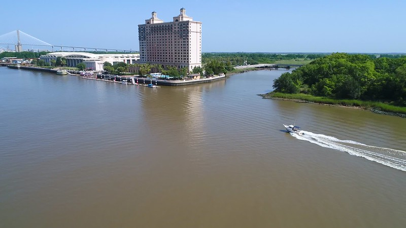 Aerial video of a boat in the Savannah River