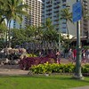 Surfer and the seal sculpture Waikiki