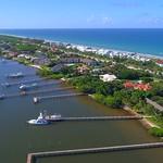 Aerial sideways footage Hutchinson Island Stuart FL