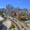 Aerial panoramic video Downtown Miami