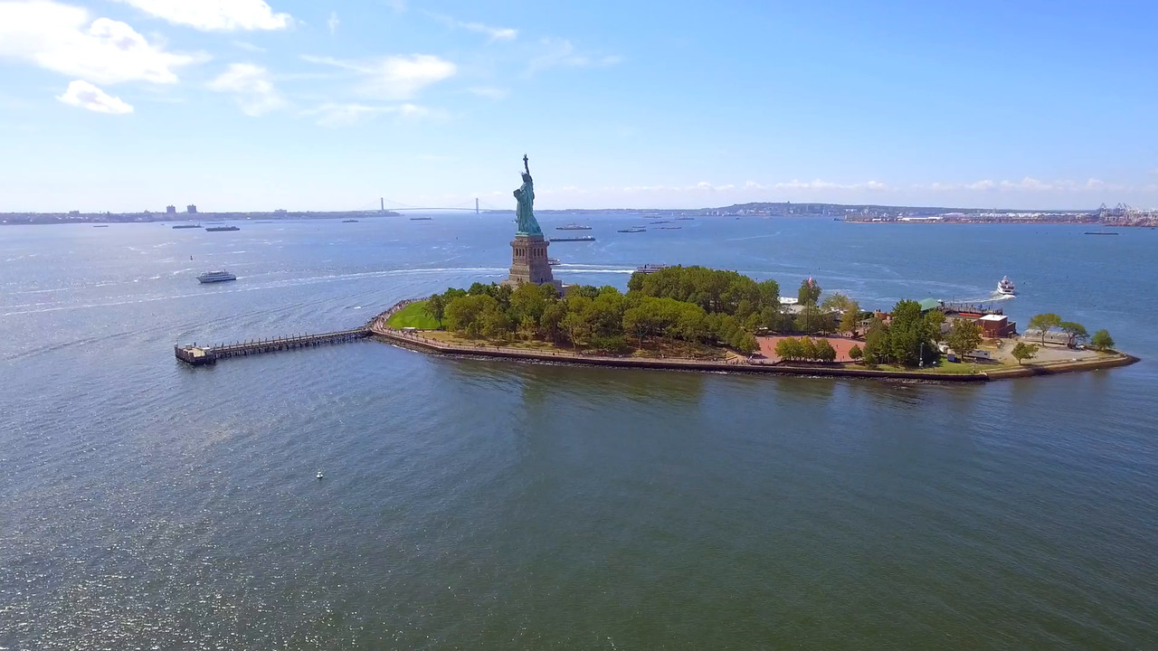 Amazing aerial video of the Statue of Liberty 2016
