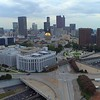 Georgia State Capitol Building aerial shot 4k 60p