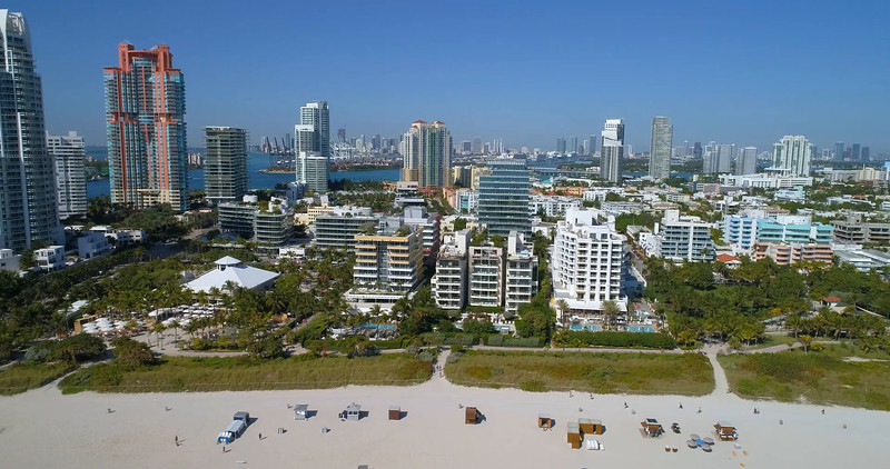 South Beach architecture aerial video 4k 60p