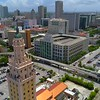 Miami Freedom Tower spotlight mode active tracking drone 4k footage