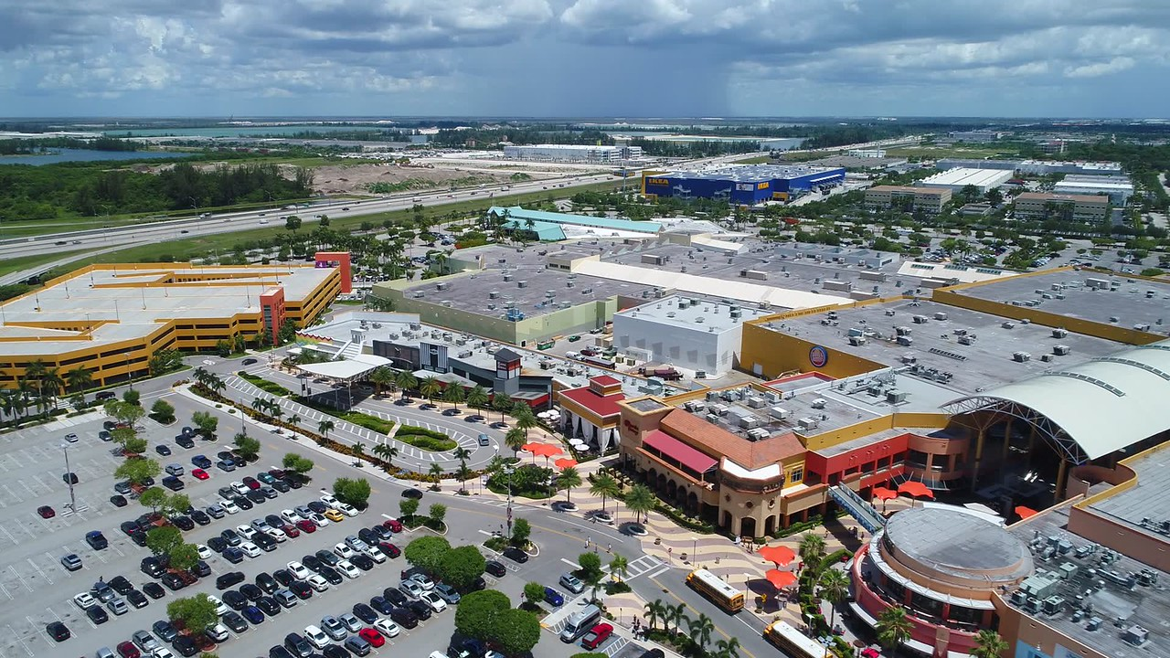 Dolphin Mall Miami aerial travel video