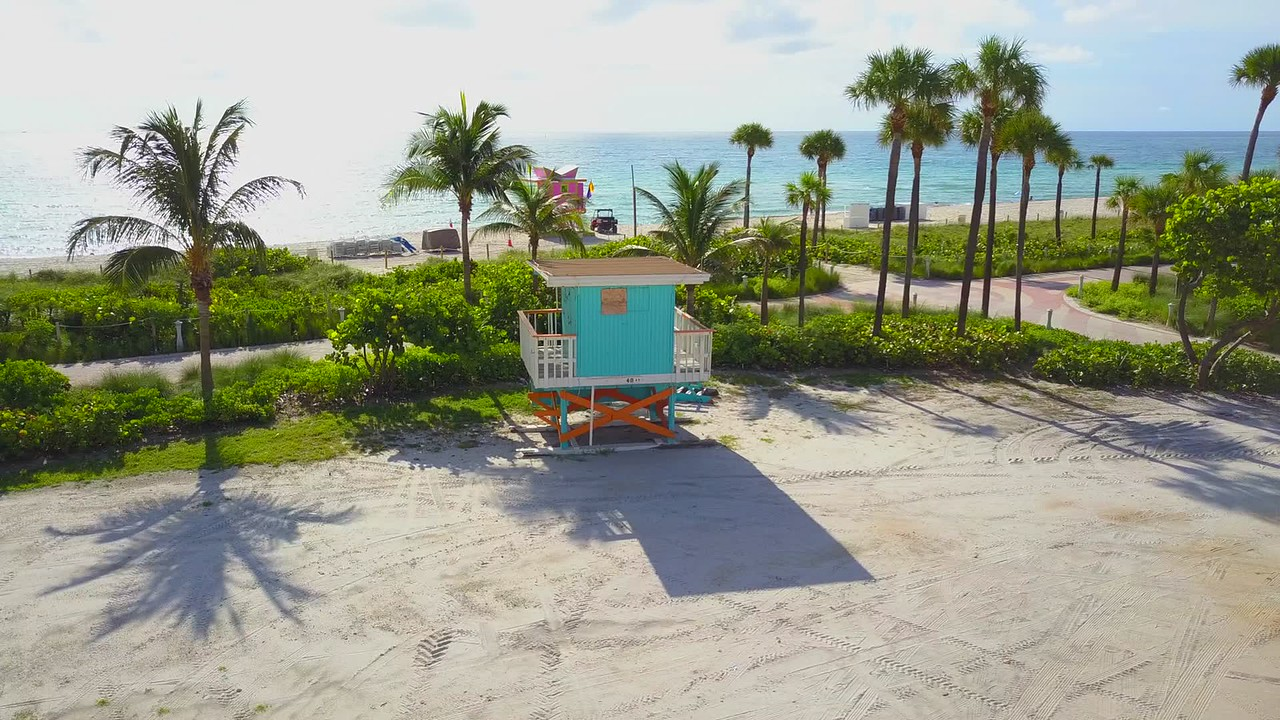 Lifeguard tower aerial video