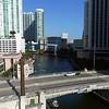 Aerial static simulated view Brickell Bridge Miami FL