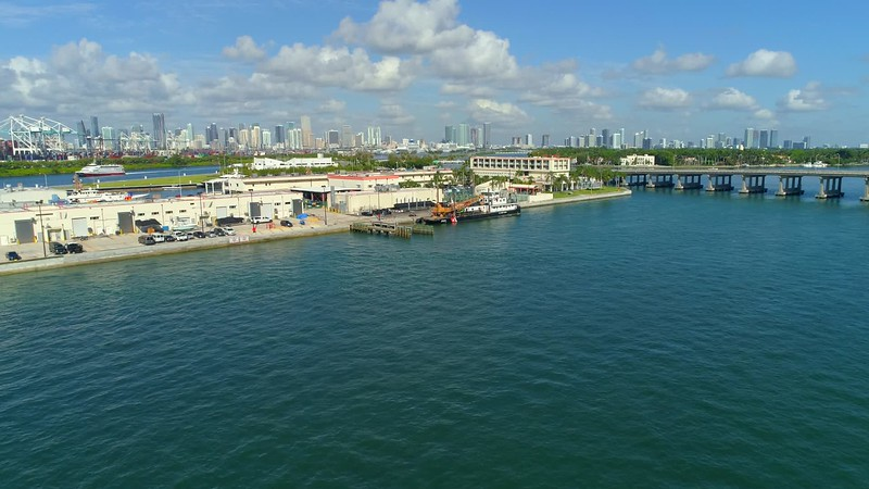 Aerial video US Coast Guard Miami Beach 4k 60p