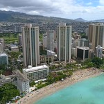 Aerial shot of Waikiki Beach Hawaii Oahu