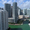 Aerial video highrise architecture Brickell Florida