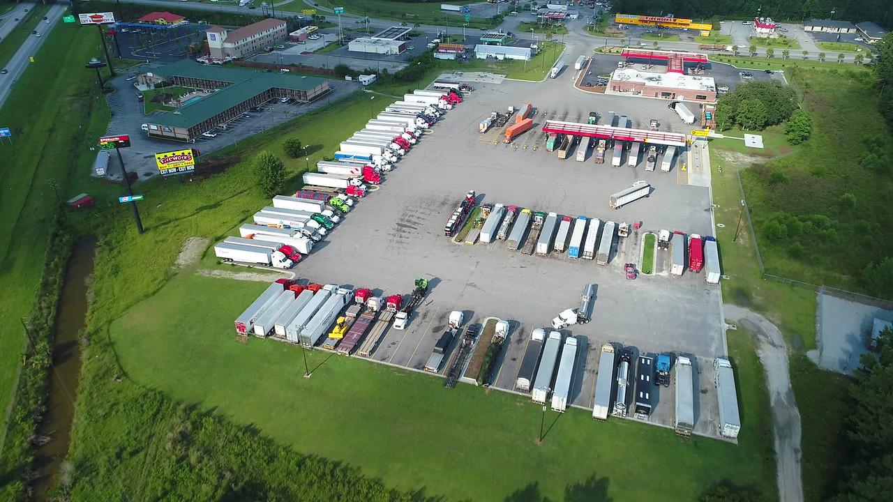 Aerial video Georgia truck stop fuel diesel 4k