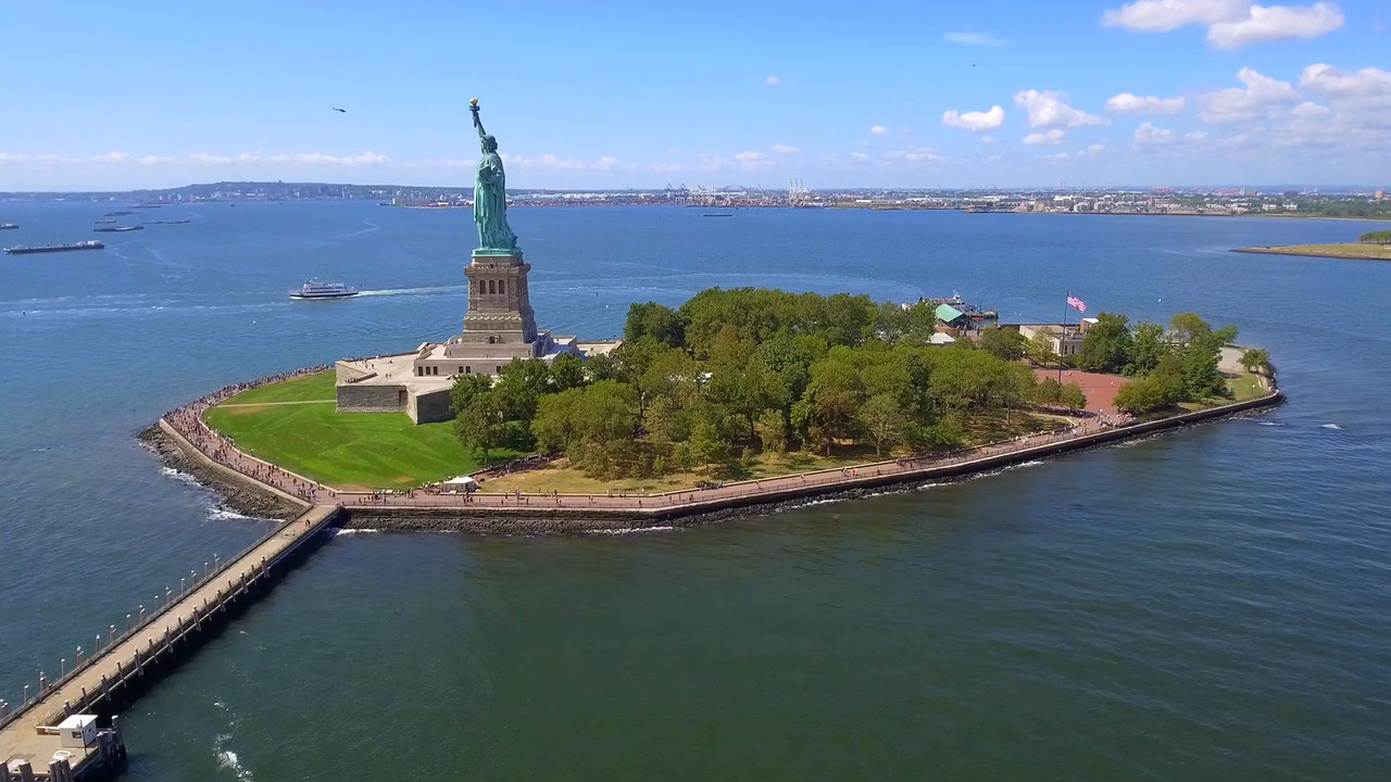 Footage of the Statue of Liberty America 4k