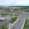 Aerial video truck stops Franklyn Indiana