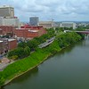 Aerial video Riverwalk Downtown Nashville 4k 60p