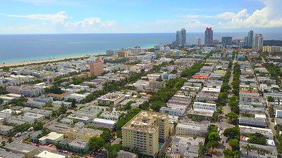 Cinematic aerial video Miami Beach coastal city