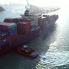 Drone orbiting around a cargo ship in Miami 4k 60p aerial video
