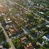 Morning aerial residential neighborhood