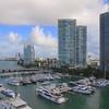 Aerial footage Miami Beach marina and condominiums 4k