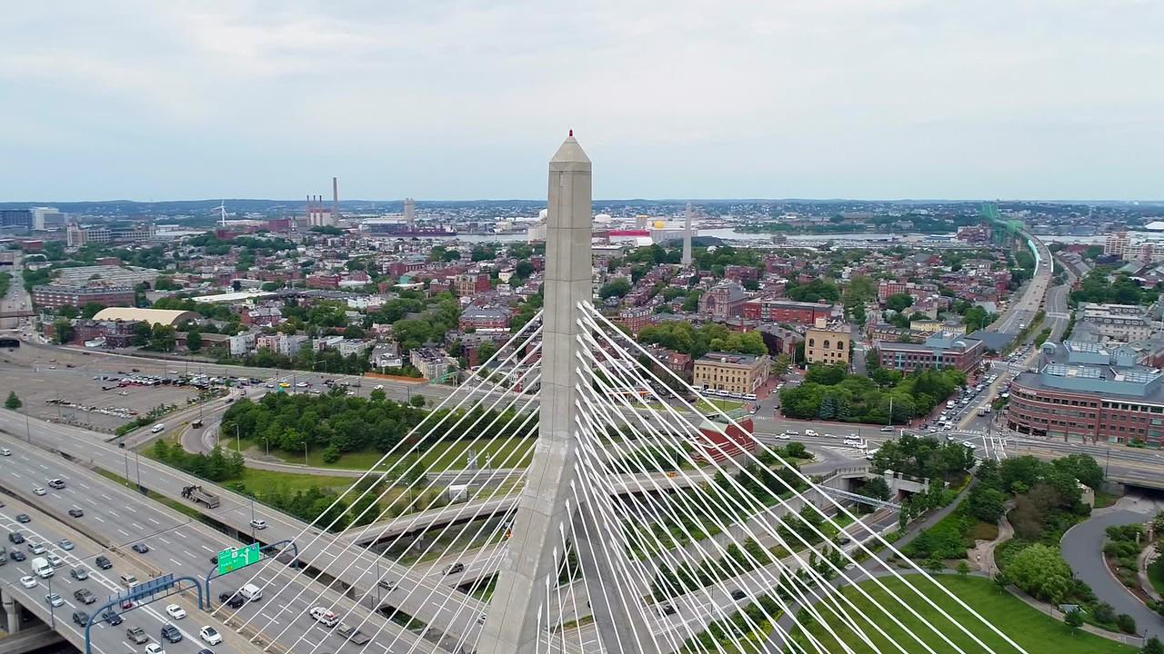 Drone orbit Leonard P. Zakim Bunker Hill Bridge 4k 60p