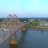 Aerial orbit Martin Luther King Bridge Mississippi River 4k 60p