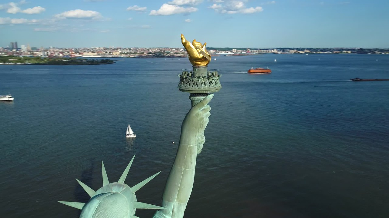 Aerial drone video torch of Statue of LIberty 4k 60p