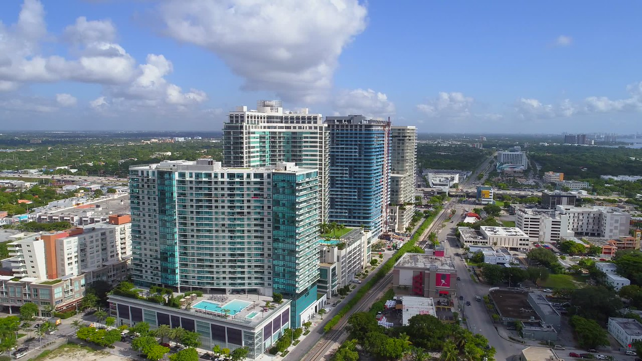 Aerial shot of the Midtown Towers Miami