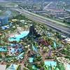 Aerial Universal Orlando Volcano Bay Water Theme Park 4k 60p