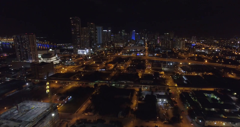 Downtown Miami night aerial video 4k