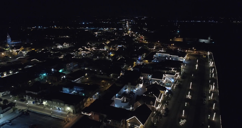 Aerial footage St Augustine at night