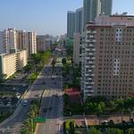 Aerial video beachfront condominiums Hallandale Beach FL