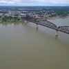 Aerial video Big Four Bridge Louisville KY 4k