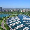 Boat harbor aerial video Chicago 4k
