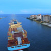 Industrial ship leaving Port Miami aerial video