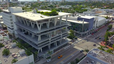Aerial video orbit Lincoln Road Parking Garage