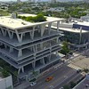 Aerial video orbit Lincoln Road Parking Garage