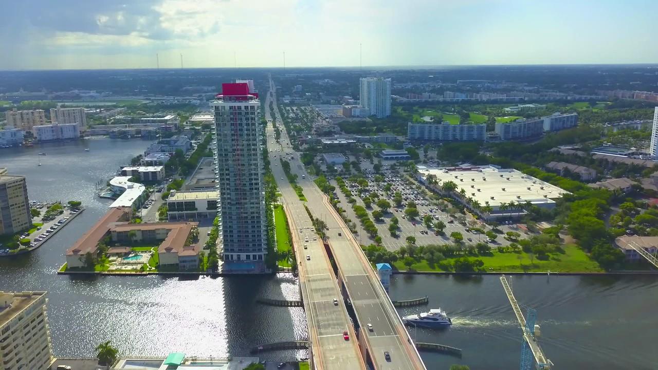 Aerial drone shot Hallandale Beach FL