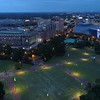 Aerial drone video Georgia Aquarium at night 4k