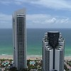 Aerial video Trump Towers Sunny Isles Beach sideways flight 4k