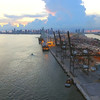 Port Miami aerial reveal with cranes